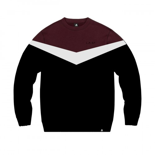 57111-1 LA57 SWEATSHIRT - BLACK/BURGUNDY
